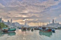 HK的看法地平线台风风雨棚的 库存图片