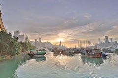 HK的看法地平线台风风雨棚的 免版税图库摄影