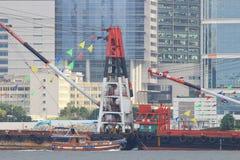HK-Art des Pontons bei Victoria Harbour Stockbild