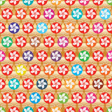 HK long life colorful round seamless pattern vector illustration