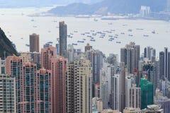 HK-Skylinepanorama von über Victoria Peak Stockbilder