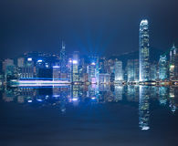 HK Victoria Harbour of skyline night. HK Victoria Harbour of  modern city buildings backgrounds at skyline night Stock Image