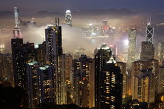 HKG τη νύχτα στοκ φωτογραφία