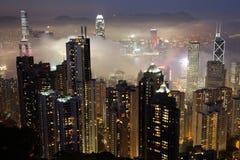 HKG bij nacht stock fotografie
