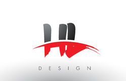 HL de H L brosse Logo Letters avec l'avant de brosse de bruissement de rouge et de noir Photographie stock