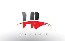 HL de H L cepillo Logo Letters con el frente rojo y negro del cepillo de Swoosh Fotografía de archivo