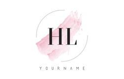 HL de H L letra Logo Design de la acuarela con el modelo circular del cepillo Foto de archivo