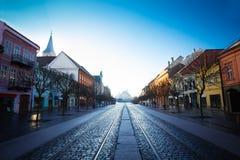 Hlavna街道在科希策,斯洛伐克 图库摄影