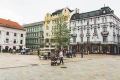 Hlavne Namestie广场在老市中心,布拉索夫, Slova 库存图片