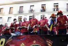 Häleri av det nationella fotbolllaget av Spanien i världscupen Sydafrika 2010. Royaltyfri Bild