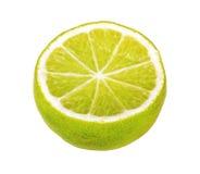 Hälfte der KalkZitrusfrucht lokalisiert auf Weiß Lizenzfreies Stockbild