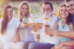 Hållande exponeringsglas för folk av vitt vin som gör ett rostat bröd på picnien Arkivbilder