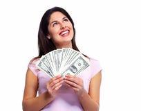 Hållande pengar för kvinna Arkivbild