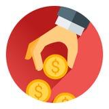 Hållande pengarmynt för hand, röd skugga och plant tema Arkivbilder