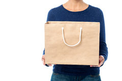 Hållande shoppingpåse för dam, kantjusterad bild. Arkivbilder