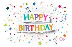 Hälsningar för lycklig födelsedag på rivit sönder papper Fotografering för Bildbyråer