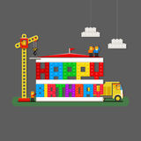 Hälsningkort för lycklig födelsedag med byggmästare-, lastbil- och byggmästareCR Royaltyfri Foto