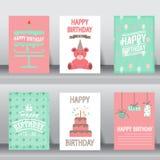 Hälsningkort för lycklig födelsedag, vektor Royaltyfri Bild