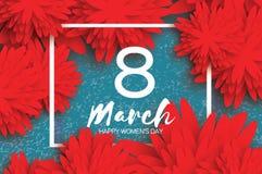 Hälsningkort för pappers- blomma Lycklig dag för kvinna` s Moderferie Fotografering för Bildbyråer