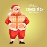 Hälsningkort med tecknade filmen Santa Claus som rymmer en gåvaask Arkivbilder