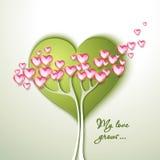 Hälsningkort med trädet och blommor Fotografering för Bildbyråer