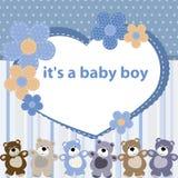 Hälsningskort med födelsen av en behandla som ett barnpojke Royaltyfri Bild