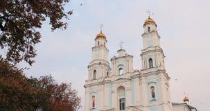 Hlybokaye of Glubokoye, het Gebied van Vitebsk, Wit-Rusland Geboorte van Maagdelijke Kathedraal Gewijd aan Kerk van Ongeschoeide  stock videobeelden