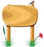 Hölzerne Elemente und ein Vogel Stockbilder