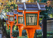 Hölzerne Laternen bei Yasaka-jinja in Kyoto Lizenzfreie Stockbilder