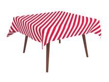 Hölzerne Tabelle mit dem gestreiften Tuch, getrennt auf Weiß Stockfotografie