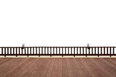 Hölzerne Terrasse auf Weiß Stockfotos