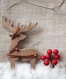 Hölzerne Weihnachtsrotwild Stockfotografie