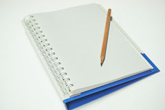 Hölzerner Bleistift gesetzt auf ein Notizbuch Lizenzfreies Stockbild