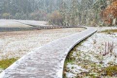 Hölzerner Gehweg im Winter Stockfoto