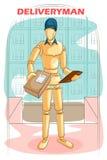 Hölzerner menschlicher Mannequin Lieferbote Lizenzfreie Stockbilder