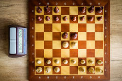 Hölzernes Schachbrett Stockbilder