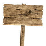 Hölzernes Zeichen getrennt auf Weiß Hölzernes altes Plankenzeichen Stockbilder
