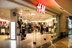 HM Fashion Store in  shopping mall Moscow City. Royalty Free Stock Photos