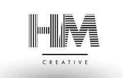 HM H M Black e linee bianche lettera Logo Design Fotografia Stock
