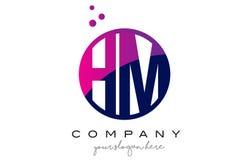 HM H M Circle Letter Logo Design com Dots Bubbles roxo Imagem de Stock Royalty Free