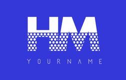 HM H M Dotted Letter Logo Design con el fondo azul Fotos de archivo