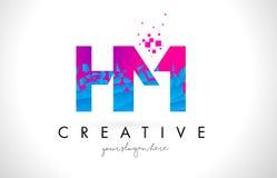 HM H M Letter Logo com textura cor-de-rosa azul quebrada quebrada Desig Imagens de Stock Royalty Free
