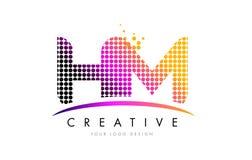 HM H M Letter Logo Design met Magenta Punten en Swoosh vector illustratie