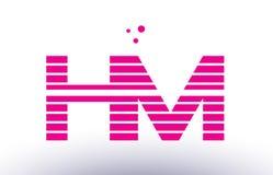 Hm h m pink purple line stripe alphabet letter logo vector templ Stock Photography