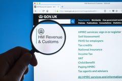 HM Revenue y sitio web de las aduanas Imágenes de archivo libres de regalías