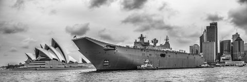 HMAS Canberra, Sydney Cove, Australia Day 2017. HMAS Canberra anchored in Sydney Cove on Australia Day, 26 January 2017. On board later in the evening, the New stock images