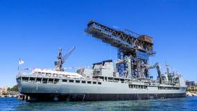 HMAS Success OR 304 Royal Australia Oiler dock at Port Jackson. SYDNEY, AUSTRALIA - OCTOBER 4, 2013 : HMAS Success OR 304 Royal Australia Oiler dock at Port royalty free stock images