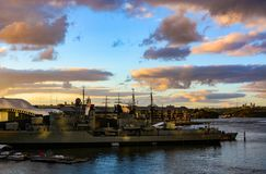 HMAS Vampire destroyer battleship anchored in Darling Harbour. Sydney, Australia - March 8, 2018 - Warship HMAS Vampire, a Daring-class destroyer, on display at Stock Image