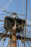 HMB Endeavour, replica. On board the beautifully crafted ship, you glimpse a sailor's life during one of history's great maritime adventures, Captain Cook' Royalty Free Stock Photos