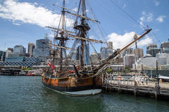 HMB Endeavour replica. This is a replica of the HMB Endeavour at the Australian National Maritime Museum in Darling Harbour. Captain James Cook landed in Stock Photography
